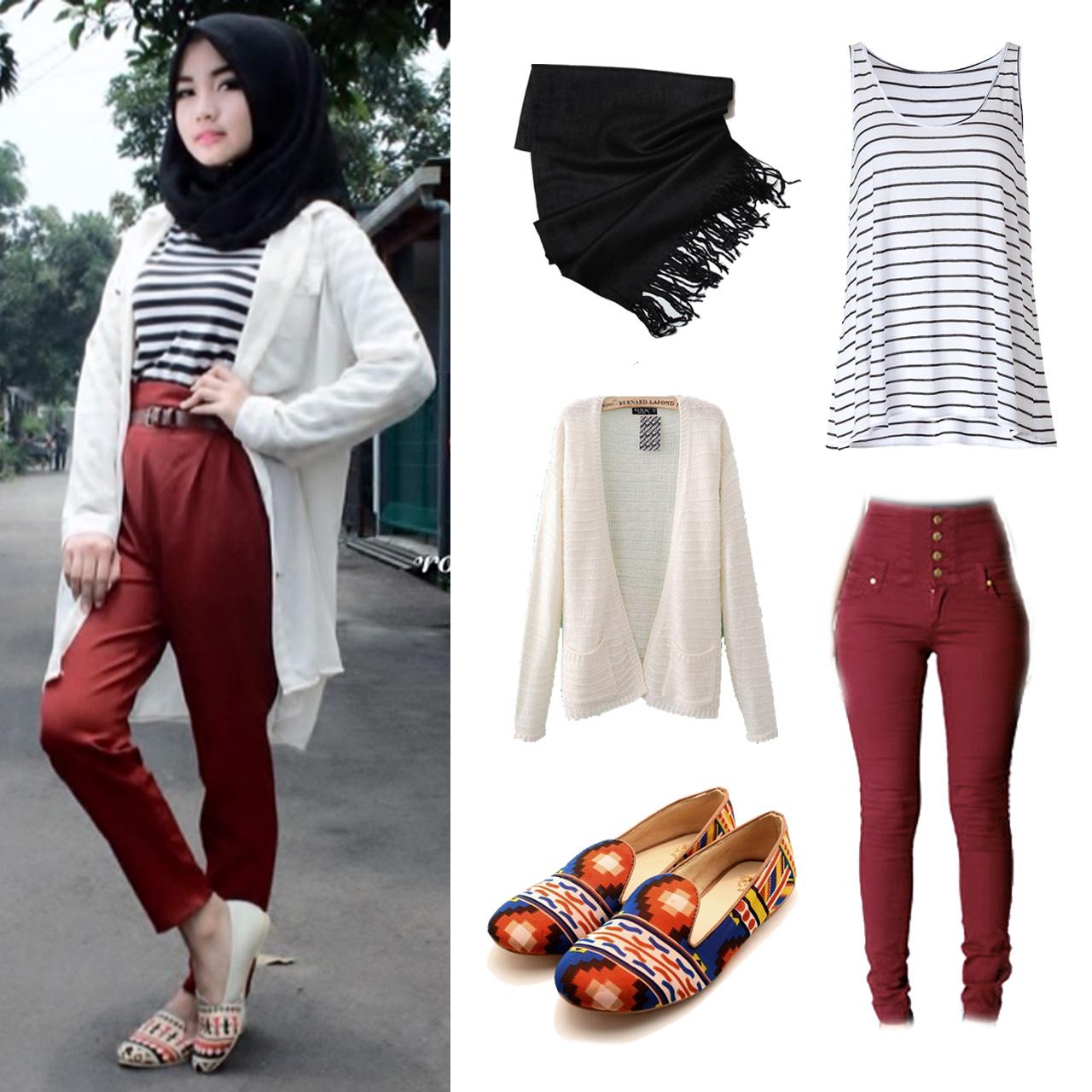 Desain Hijab Dengan High Waisted Pants